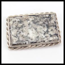 Vintage Large Moss Agate and Silver Brooch