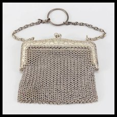 Vintage Silver or Silver Plate Large Doll Purse
