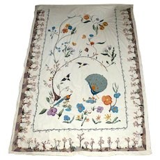 Arts and Crafts Hand Embroidered Bedspread-Lovely Images