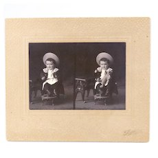 Vintage Double Photo of Young Boy With Teddy Bear
