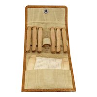 Vintage Leather Travelling Wooden Clothespin Set