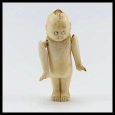 Unusual Vintage Carved Bone Kewpie Doll