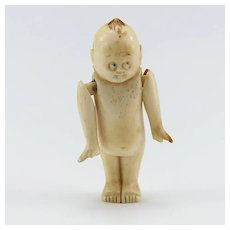 Unusual Vintage Carved Bone Kewpie Doll
