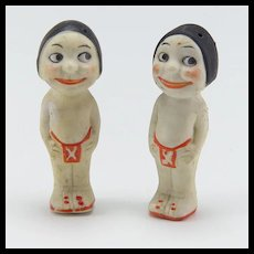 Pair of  All Bisque Native American Small Dolls