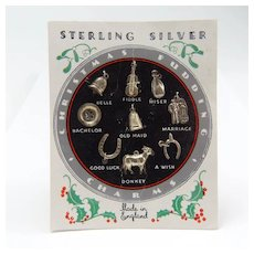 Card of Vintage Sterling Silver Christmas Cake Charms