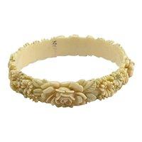Vintage Carved Plastic Faux Ivory Floral Bracelet