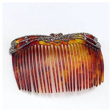 Vintage Hair Comb with Cut Steel Top