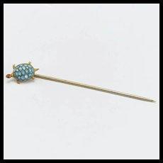 Vintage Turtle Metal and Blue Glass Stickpin