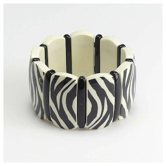 Fun Zebra Design Vintage Plastic Bracelet