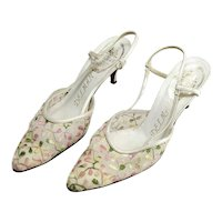 Pair of Vintage Delman Leather and Embroidered Slingback Shoes