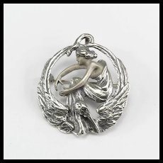 Vintage Sterling Silver Art nouveau Brooch/Pendant