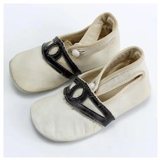 Pair of Vintage Large Leather Doll Shoes