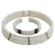 Vintage Faux Pearl Collarette Choker and Bracelet
