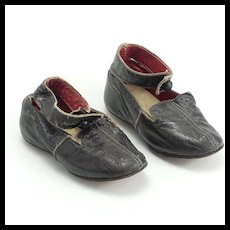 Pair of Large Black Leather Doll Shoes