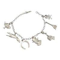 Delicate Sterling Silver Vintage Charm Bracelet