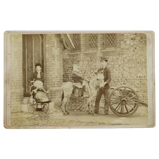 Antique Studio Card of Children with Maid and Houseboy and Donkey