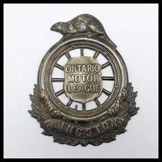 Circa 1907 Canadian Automobile Association Badge-Kingston