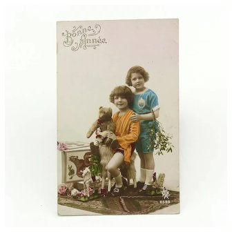 Antique New Year Holiday Card Children and Toys