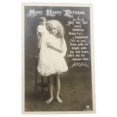 Antique Postcard with Photo of Child and Character Doll