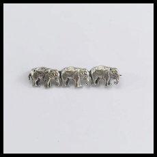 Vintage Silver Three Elephant Brooch