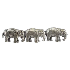 Vintage Silver Three Elephant Brooch