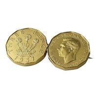 Vintage Three Pence 1937 Brooch