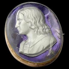 19th Century Sulphide Cameo Brooch