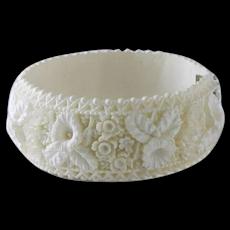 Very Interesting White Faux Ivory Clamper Bracelet