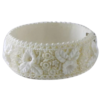 Very Interesting White Faux Ivory Clamper Bracelet
