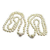 Lovely Pair of Vintage Strands of Baroque Akoya Pearls