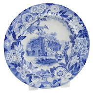 19th Century Blue and White Plate Flowers and Cherubs