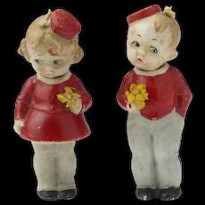 Pair of All Bisque Nodder Dolls