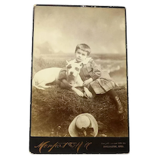 Studio Photo of a Victorian Child and a Large Dog