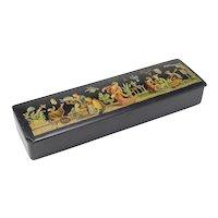 Vintage Child's Lacquer and Scenic Pencil Box