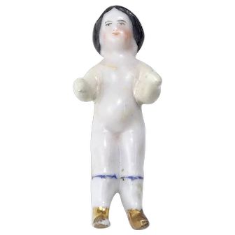 19th Century Tiny Frozen Charlotte Doll As Is