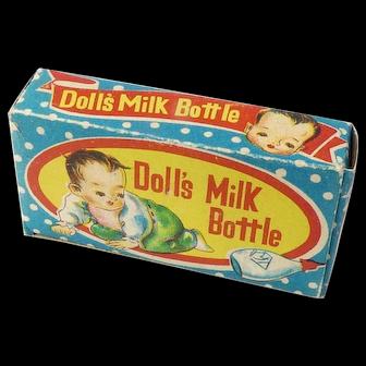 Vintage Milk Glass Doll Bottle IOB