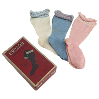 Set of Three Pair of Different Colored Doll Socks IOB