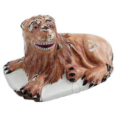 Antique Enamel on Copper Lion As Is