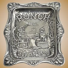Lovely Sterling Pin Tray with Image of Punch Magazine