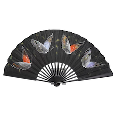 Vintage Handpainted Silk Butterfly Fan