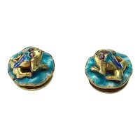 Small Chinese Silver (Tested) and Enamel Frog Stud/Buttons