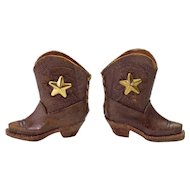 Vintage Miniature Leather Cowboy Boots