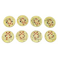 Interesting Group of Eight Antique Hand Painted Game Counters