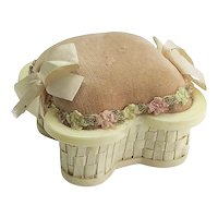 Vintage French Ivory Basket Pincushion