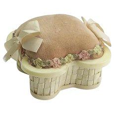 Vintage French Ivory Basket Pincushion