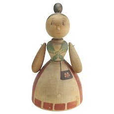 Vintage Carved Wooden Mama Katzenjammer Doll