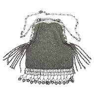 Antique Circa 1890 Steel Beaded Purse With Cut Steel Frame