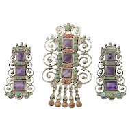 Dramatic Vintage Matl Salas Mexico Brooch and Earrings