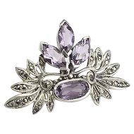 Very Pretty Vintage Sterling Silver, Amethyst and Marcasite Brooch