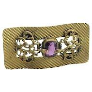 Vintage Brass and Glass Snake Design Buckle Brooch